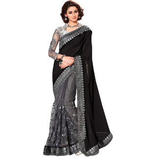 429503b41f032 B Bella Creation Black Lycra Embroidered Saree With unstiched Blouse piece