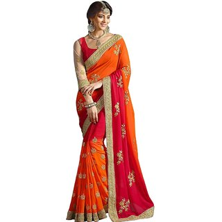 G Jelly Fashion Tree Multicolor Chiffon Embroidered Saree With Blouse