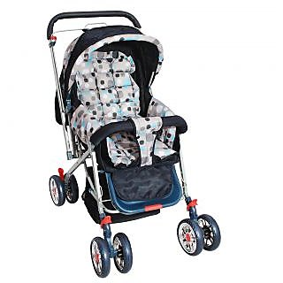 dealBindaas Pram Comfort Cushioned Crome Wheel Assorted Colour