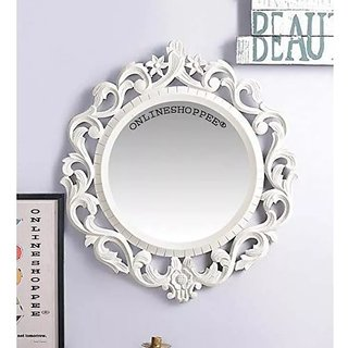 Onlineshoppee Ayna Wooden Carved Mirror Oval Shape - White