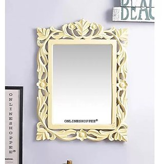 Onlineshoppee Ayna Wooden Carved Mirror - Yellow