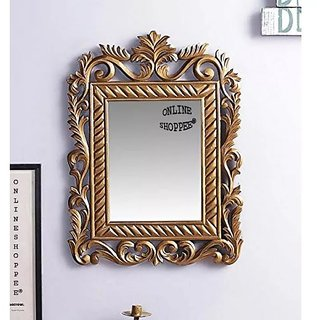 Onlineshoppee Ayna Wooden Carved Mirror - Brown