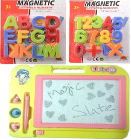 Combo of Magnetic Learning Alphabets and Numbers (ABC 123) with drawing ,writing Magic Slate for kids