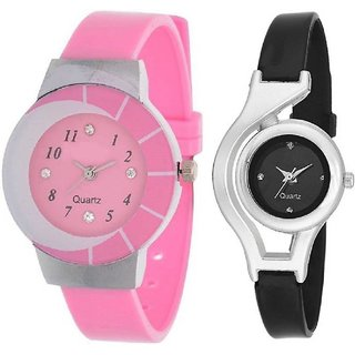 NEW BEAUTIFUL PINK BLACK FASHION COMBO FOR YOUR STYLE Analog Watch - For Women