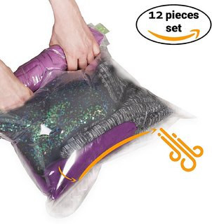 Importikaah 12 Travel Storage Bags for Clothes-Compression Bags for Travel-No Vacuum Sacks-Save Space in your Luggage