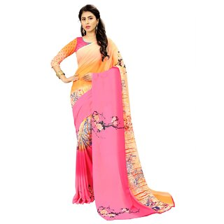 Siha Enterprises Women's Georgette Orange And Pink  Saree With Blouse Piece