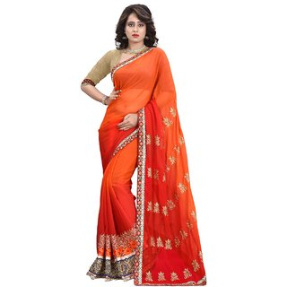 Siha Enterprises Women's Orange And Red Color Embroidered Saree With Boluse