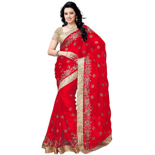 Ujjwal Creation Red Satin Self Design Saree With Blouse