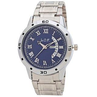 LOF Blue Round Dial Metal Strap Men's Multi function Analog watch - LW3009