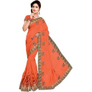 Ujjwal Creation Orange Satin Self Design Saree With Blouse