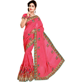 Ujjwal Creation Pink Satin Self Design Saree With Blouse