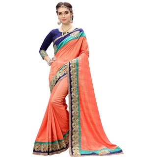 Ujjwal Creation Orange Silk Self Design Saree With Blouse