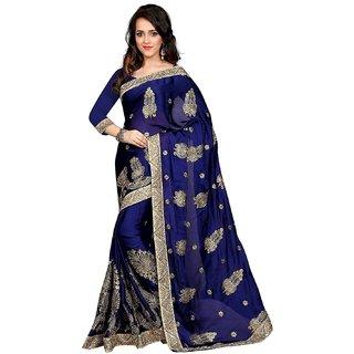 Ujjwal Creation Blue Satin Self Design Saree With Blouse