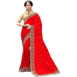 Ujjwal Creation Red Silk Self Design Saree With Blouse