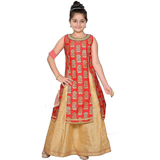 Siha Enterprises Baby Girl's Jacquard Silk Red And Cream Indo-Western Dress
