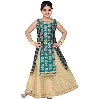 Siha Enterprises Baby Girl's Jacquard Silk Green And Cream Indo-Western Dress