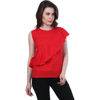 BuyNewTrend Women's Red Solid Crepe Round Neck Tunics