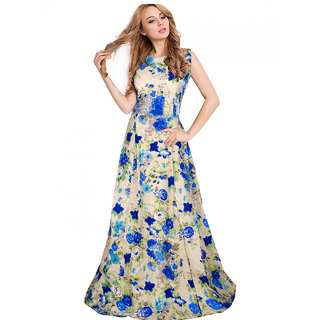Active Womens Yashvi Blue Banglory Silk Satin Semi-Stitched Gown