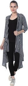 BuyNewTrend Women's Multicolor Striped Cotton Lycra Shrug
