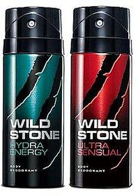 Wild Stone Hydra Energy And Ultra Sensual Deodorants Spray Combo of 2- 150 ml Each