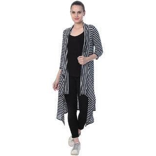 BuyNewTrend Women's Multicolor Striped Cotton Lycra Shrug