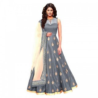 Active Art Silk Embroidered Grey Net Semi Stitched Wedding Gown