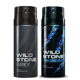 Wild Stone Grey, Thunder Body Deodrant 150ml Set of 2 150ml each