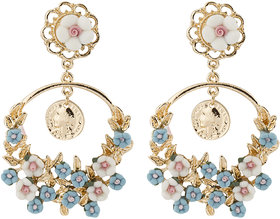 Jewels Galaxy Luxuria Exclusive Artistic Floral Design Sparkling Colorful Chandelier Earrings For Women/Girls