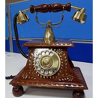 Aarsun Antique Vintage Maharaja Style Brass Phone- Collectible