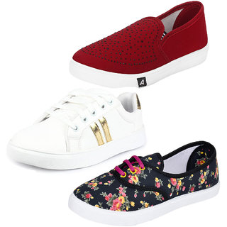 Buy Earton Combo-Multicolor Pack of Women Girls 3 Casual Shoes Online    ₹1494 from ShopClues