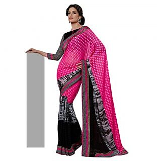 Triveni Pink Georgette Plain Saree With Blouse