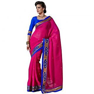 Triveni Multicolor Cotton Lace Saree With Blouse