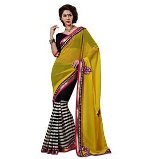 Triveni Black Chiffon Plain Saree With Blouse