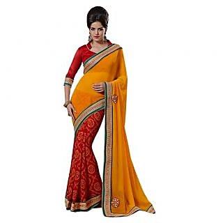 Triveni Red Chiffon Plain Saree With Blouse