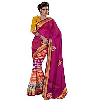 Triveni Multicolor Georgette Plain Saree With Blouse