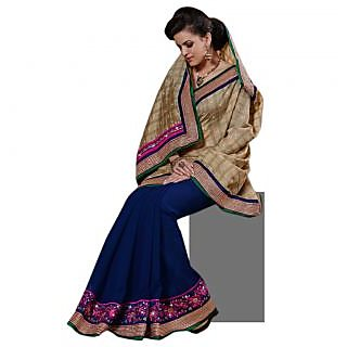 Triveni Blue Chiffon Plain Saree With Blouse