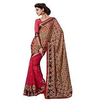 Triveni Red Georgette Plain Saree With Blouse