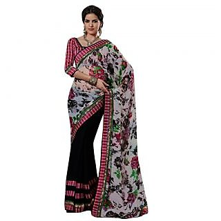 Triveni Black Chiffon Printed Saree With Blouse