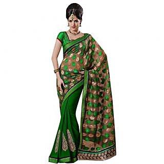 Triveni Green Georgette Plain Saree With Blouse