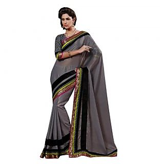 Triveni Grey Chiffon Plain Saree With Blouse