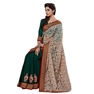 Triveni Green Brasso Plain Saree With Blouse