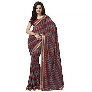 Triveni Lovely Geometrical Printed Faux Georgette Saree 34607A