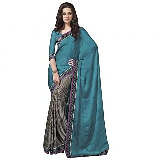 Triveni Grey Georgette Printed Saree With Blouse