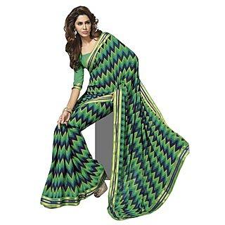Triveni Multicolor Faux Georgette Printed Saree With Blouse