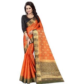 Saarah Orange Kanchipuram Silk Saree