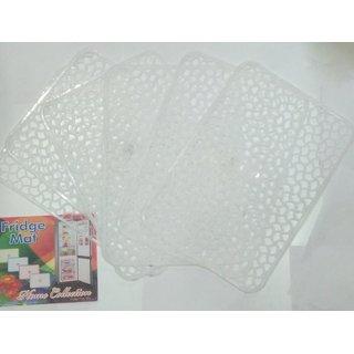 Khushi Creation Set of 6 PVC Fridge Mats 12X17 Inches (White)