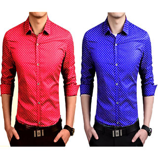 US PEPPER RED AND ROYAL BLUE DOTTED PARTYWEAR/CASUAL/FORMAL SHIRTS (PACK OF 2)