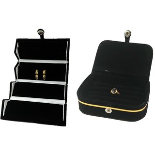 ADWITIYA Combo-Black Earring Studs Organizer  Ring Pocket Case Velvet Travel Jewelry Box