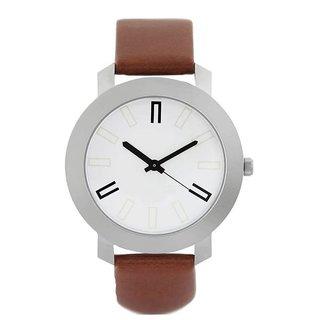 New Round Dial Brown pu Quartz Watch For Men