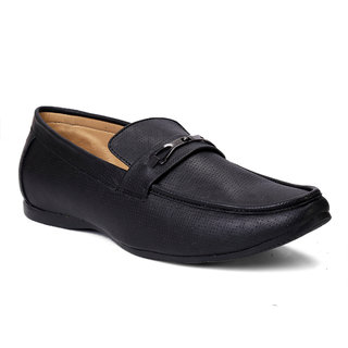 Brooke Leather look Men Black Casual Loafers Shoes Black